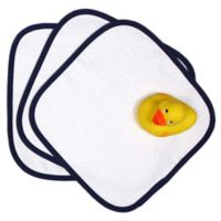 Raindrops 5-Piece Washcloth and Rubber Ducky Gift Set in Navy