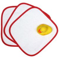 """Loved"" 5-Piece Washcloth and Rubber Ducky Gift Set in Cherry Red"