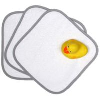 """Loved"" 5-Piece Washcloth and Rubber Ducky Gift Set in Silver Kiss Grey"