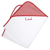 Loved Chevron Hooded Towel Gift Set in Cherry Red