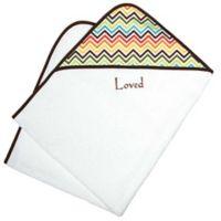 Loved Chevron Hooded Towel Gift Set in Chocolate Brown
