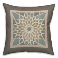Grey Exotic Tile 18-Inch Square Throw Pillow in Brown/Blue