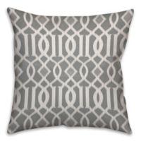 Kirkwood Trellis 18-Inch Square Throw Pillow in Grey/White