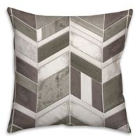 Chevron Wood 16-Inch Square Throw Pillow in Grey/White