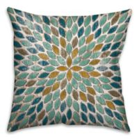 Leafies 18-Inch Square Throw Pillow in Blue/Gold