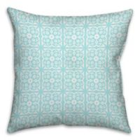 Medallion 18-Inch Square Throw Pillow in Blue/White