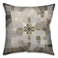 Greige Mosaic 18-Inch Square Throw Pillow in Grey/Beige