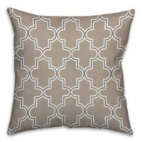 Neutral Quatrefoil 18-Inch Square Throw Pillow in Beige/Brown