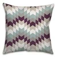Purple Tribal Geo 18-Inch Square Throw Pillow in White/Blue