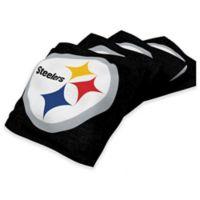 NFL Pittsburgh Steelers 16 oz. Duck Cloth Cornhole Bean Bags in Black (Set of 4)