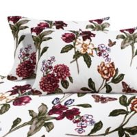 Blossoms Print 200 GSM Deep-Pocket Twin Flannel Sheet Set in Red Pearl Burgundy