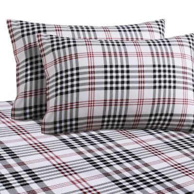 Plaid Print 200 GSM Deep Pocket Twin Flannel Sheet Set In Black/Red