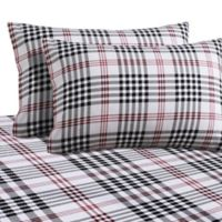 Plaid Print 200 GSM Deep-Pocket California King Flannel Sheet Set in Black/Red