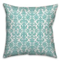 Soft Watercolor Damask 16-Inch Square Throw Pillow in Blue/White
