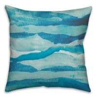 Abstract Waves 18-Inch Square Throw Pillow in Blue