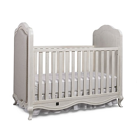 Bel Amore Lyla Rose Upholstered 3 In 1 Convertible Crib In White Willow