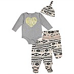 Mini Heroes Size 3M 3-Piece Wild at Heart Bodysuit, Footed Pant, and Hat Set