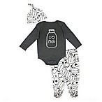 Mini Heroes Milk Newborn 3-Piece Set in Charcoal