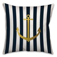 Anchor of Gold 18-Inch Square Throw Pillow in Blue/Gold