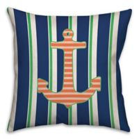 Anchor Stripes 16-Inch Square Throw Pillow