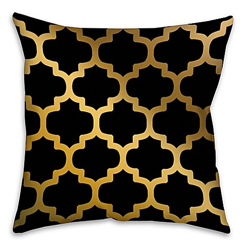 Black Throw Pillows Bed Bath And Beyond : Bits of Gold Throw Pillow in Black - Bed Bath & Beyond