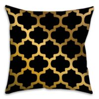 Bits of Gold 18-Inch Square Throw Pillow in Black