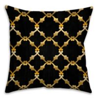 Chain Links 16-Inch Square Throw Pillow in Black/Gold