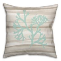 Coral Abstract 18-Inch Square Throw Pillow in Blue/Beige