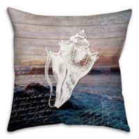 Distressed Anchor Conch 18-Inch Square Throw Pillow in Blue