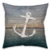 Distressed Anchor 18-Inch Square Throw Pillow