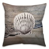 Distressed Seashell 18-Inch Square Throw Pillow in Blue/White