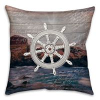 Distressed Wheel 18-Inch Square Throw Pillow in Blue/White