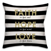 """""""Faith Love Hope"""" 18-Inch Square Throw Pillow in Black/Gold"""