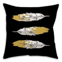 Feathers Square 16-Inch Throw Pillow in Black/Gold