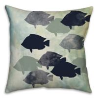 Fish Party 18-Inch Square Throw Pillow in Blue/Green