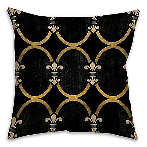 Black Throw Pillows Bed Bath And Beyond : Fleur-De-Lis Square Throw Pillow in Black/Gold - Bed Bath & Beyond