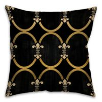 Fleur-De-Lis 16-Inch Square Throw Pillow in Black/Gold