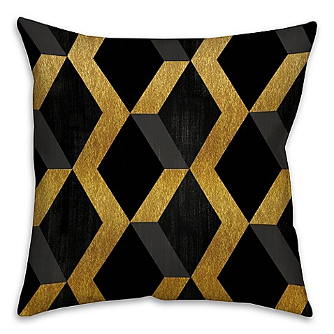 Black Throw Pillows Bed Bath And Beyond : Geometric Square Throw Pillow in Black/Gold - Bed Bath & Beyond