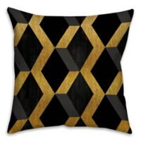 Geometric 18-Inch Square Throw Pillow in Black/Gold