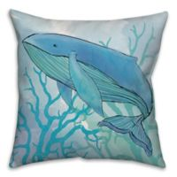 Whale Blue Coral 18-Inch Square Throw Pillow