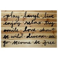 """Marmont Hill """"Play Laugh Live"""" 36-Inch x 24-Inch Wood Wall Art"""