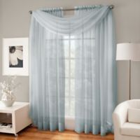 Crushed Voile Sheer Scarf Valance in Pearl Blue