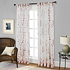 Willow Print Pinch Pleat 84-Inch Sheer Window Curtain Panel in Red