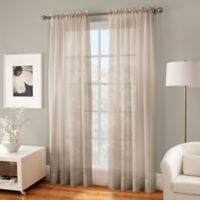 Crushed Voile Sheer 63-Inch Rod Pocket Window Curtain Panel in Linen