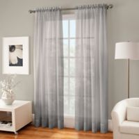 Crushed Voile Sheer 84-Inch Rod Pocket Window Curtain Panel in Fog