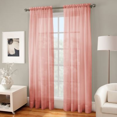 Crushed Voile Sheer 84 Inch Rod Pocket Window Curtain Panel In Coral