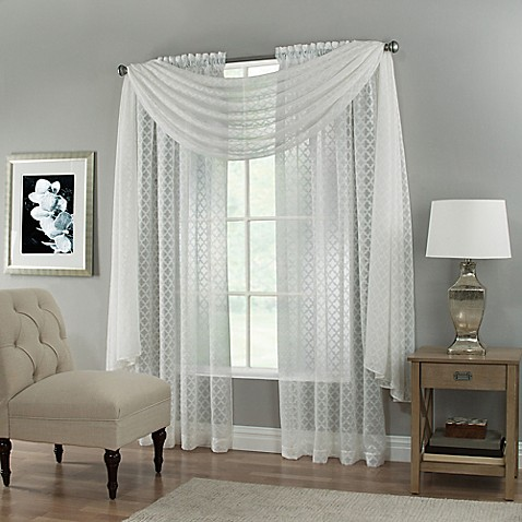 Creston Rod Pocket Sheer Window Curtain Panel And Scarf