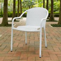 Crosley Palm Harbor Wicker Stacking Chairs in White (Set of 4)