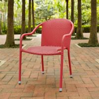 Crosley Palm Harbor Wicker Stacking Chairs in Red (Set of 4)