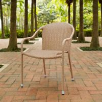 Crosley Palm Harbor Wicker Stacking Chairs in Light Brown (Set of 4)